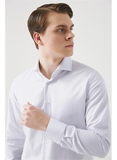 D'S Damat Ds Damat Slim Fit Beyaz Armürlü Gömlek Beyaz